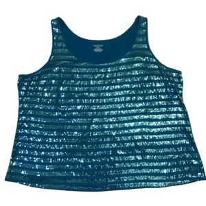 Lane Bryant Sequined Tank Top Teal 22/24